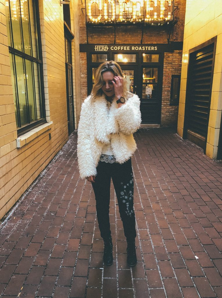 Blonde Woman Modeling a Winter Girls Night Out Outfit
