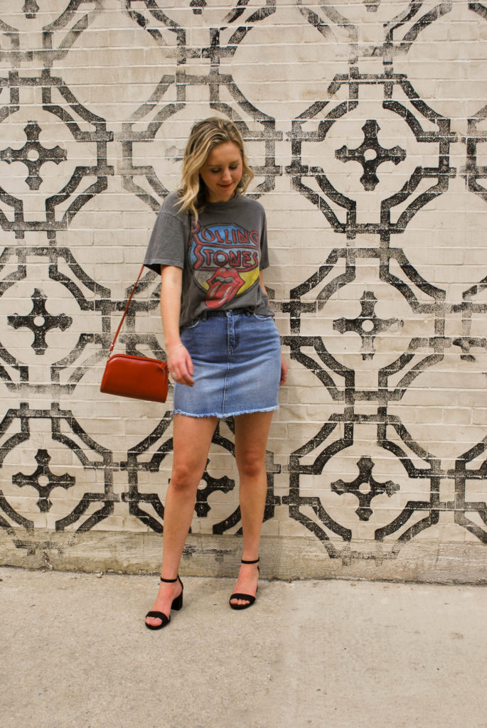 Blonde Woman Demoing a Spring Outfit