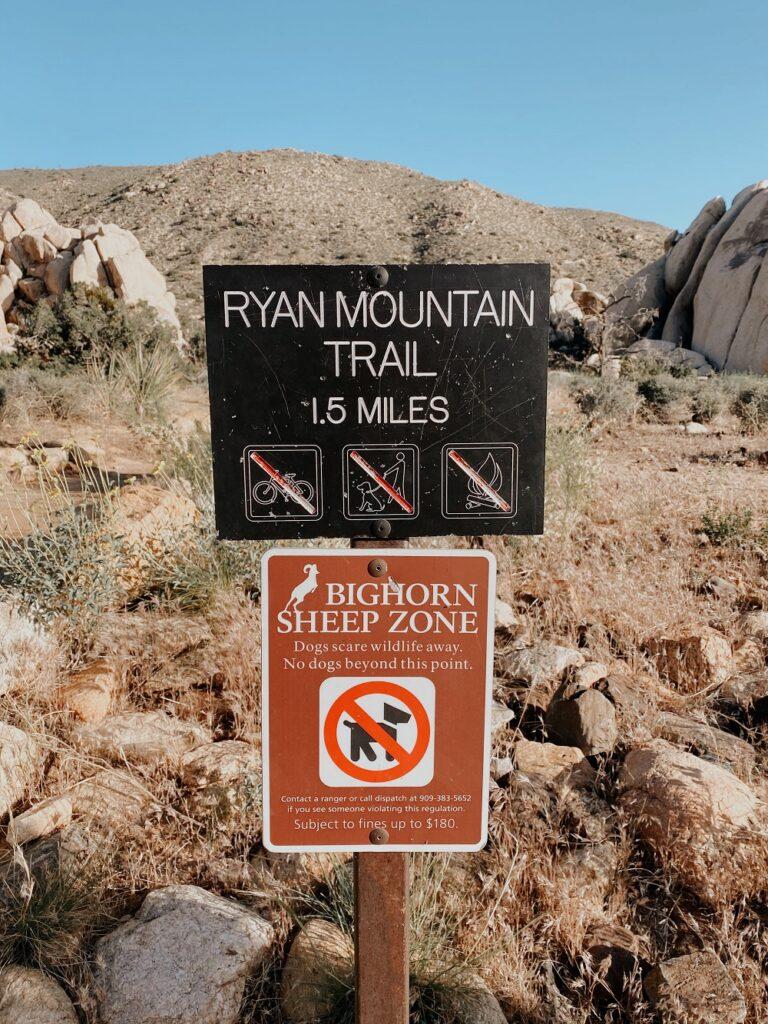 Ryan Mountain Trailhead Sign