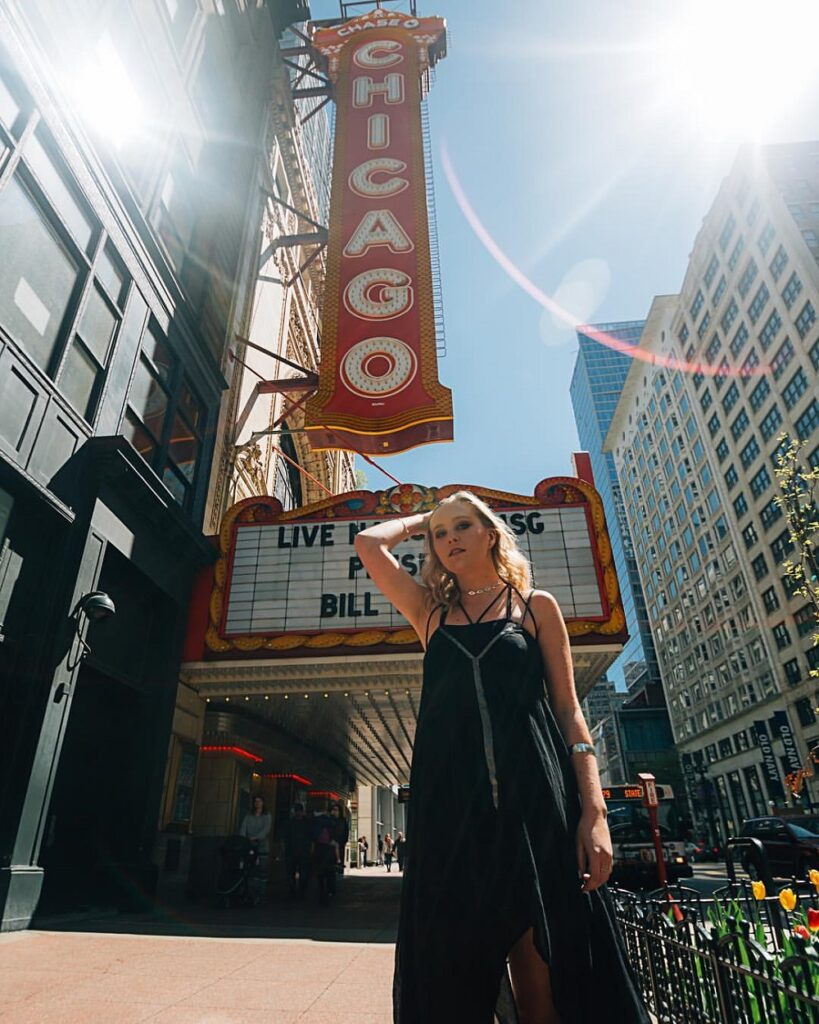 Pre Fashion resolution, posing in front of the Chicago theatre.