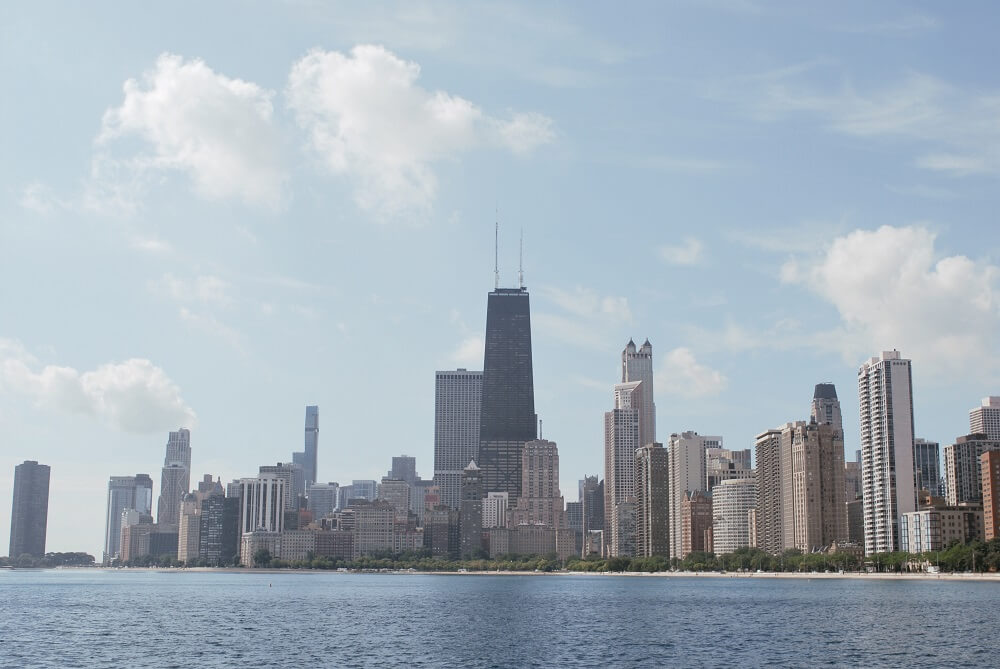 Chicago skyline from north ave pier, scenery can combat feeling stuck in life