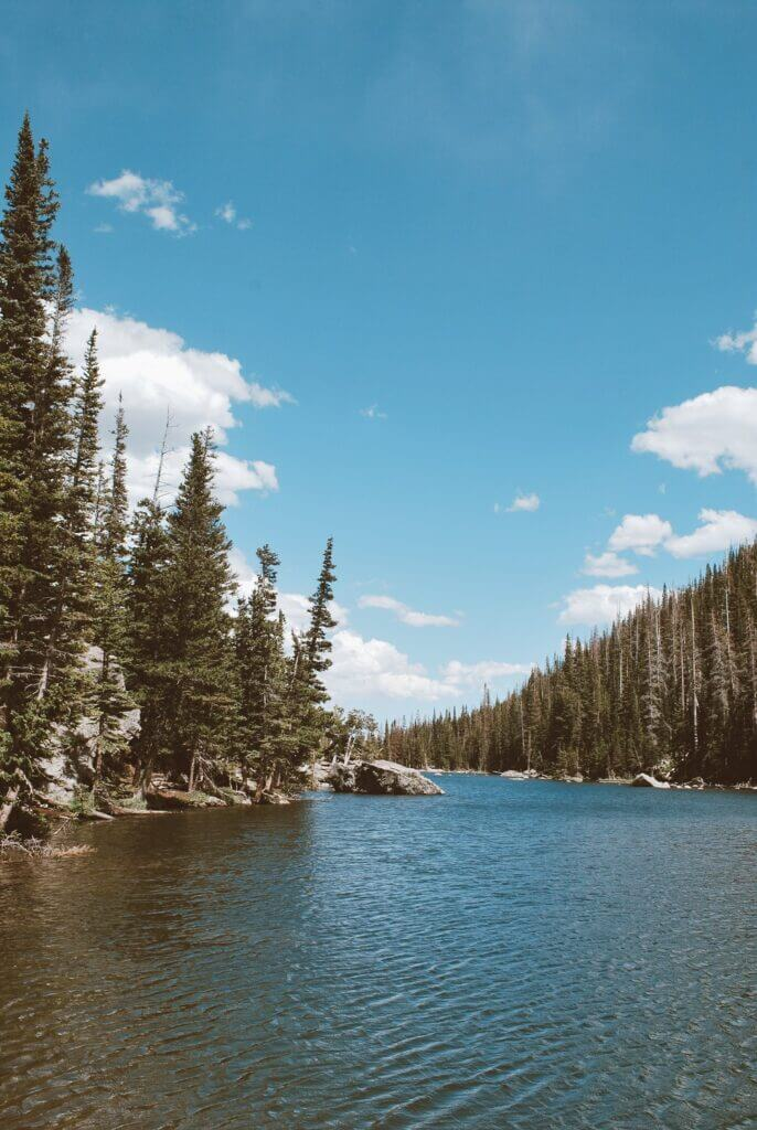 Dream Lake in Rocky Mountain National Park surrounded by trees