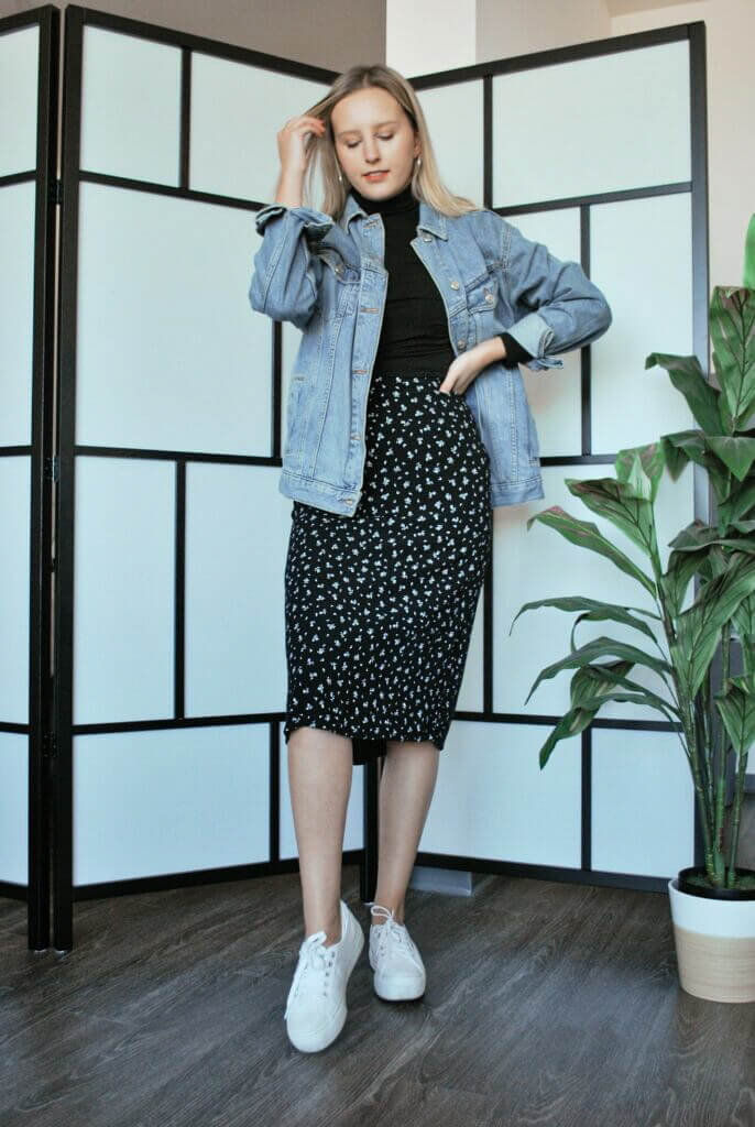 Compliment that midi skirt with a denim jacket for those extra chilly autumn days