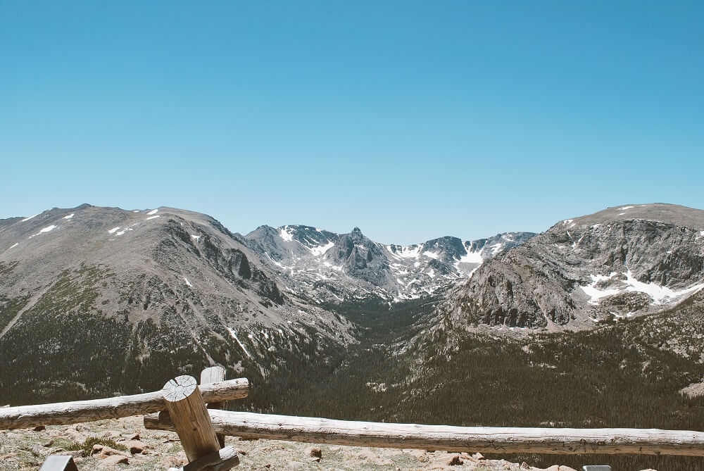 Expansive views of the Colorado rockies from Forest Canyon Overlook