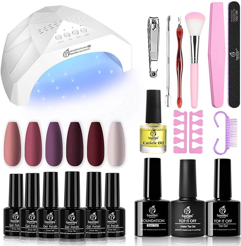 Gel nail kit with everything you need for a manicure at home
