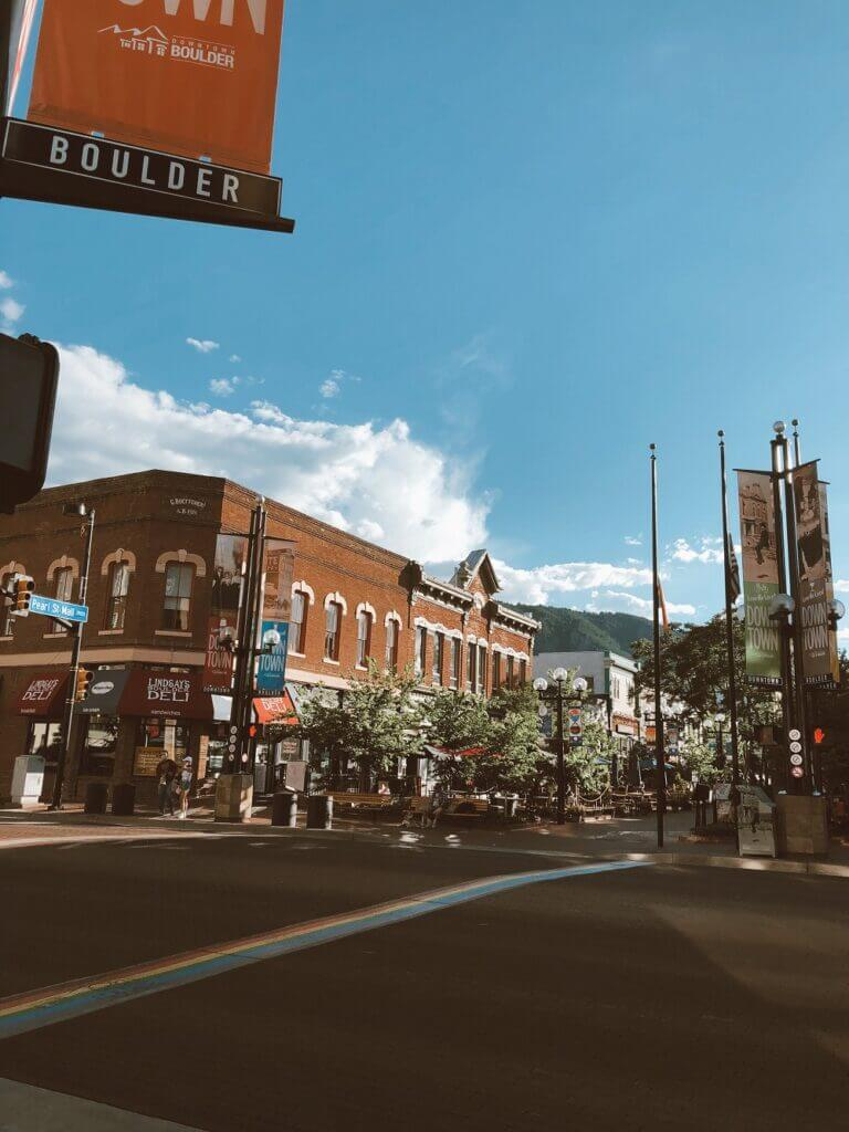Pearl street shopping strip in downtown Boulder, CO