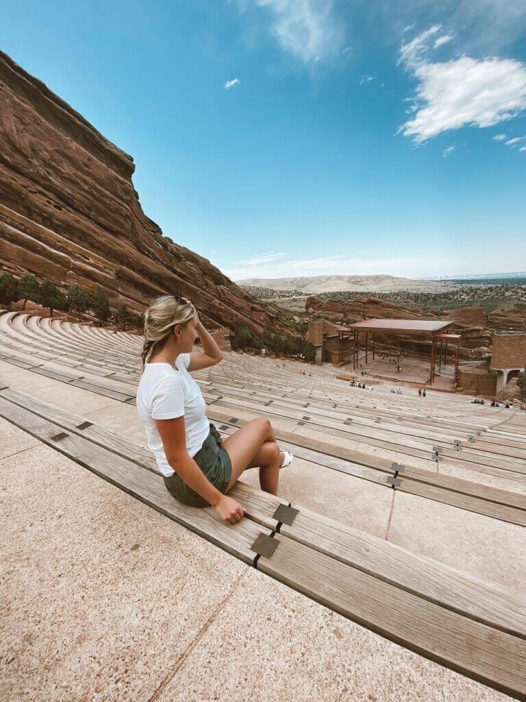 Gazing over Red Rocks Amphitheater, a must see when spending one week Colorado trip