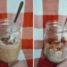 Apple and pumpkin pie chia seed pudding side by side in mason jars
