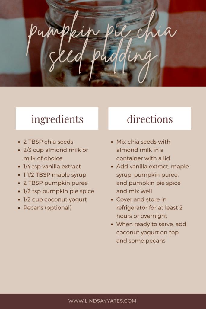 Pumpkin pie chia seed pudding recipe
