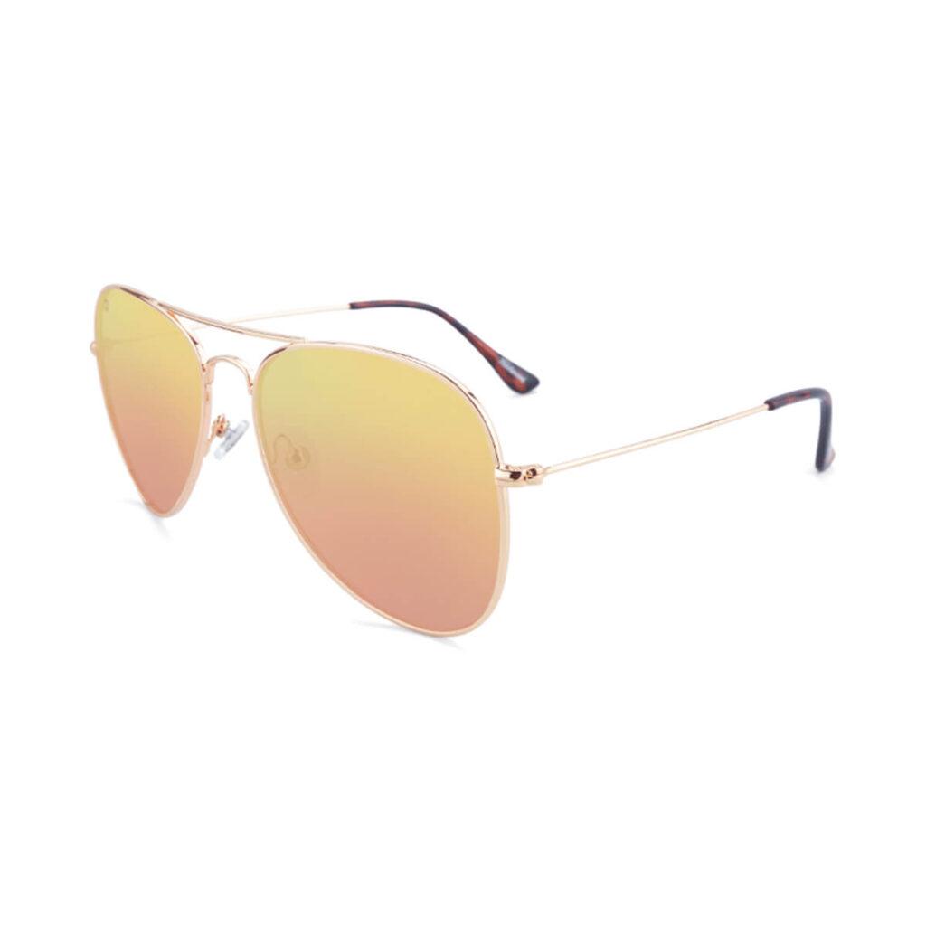 Knockaround rose gold mile high aviator sunglasses