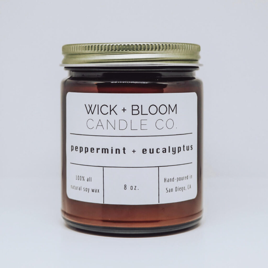 Wick and Bloom peppermint eucalyptus candle