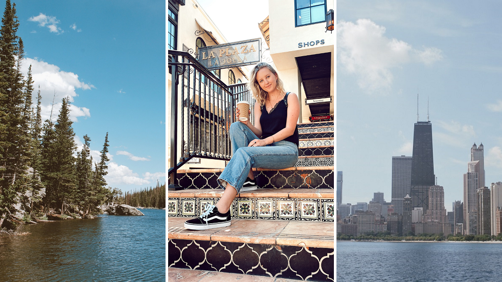 Colorado lake, woman on stairs and Chicago skyline in 2020 collage