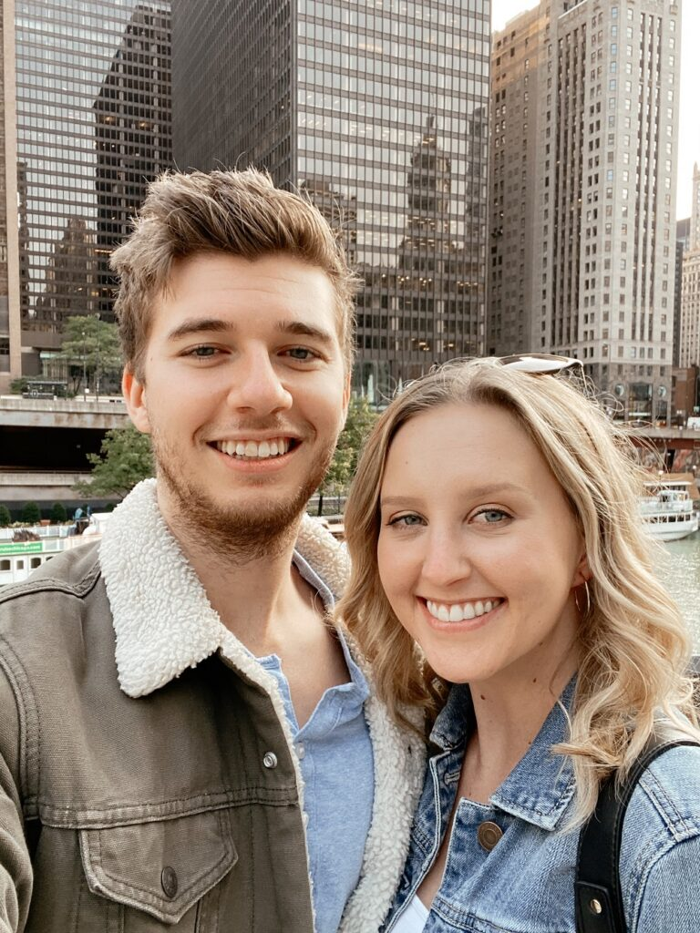 Couple in Chicago about to take an architectural boat tour