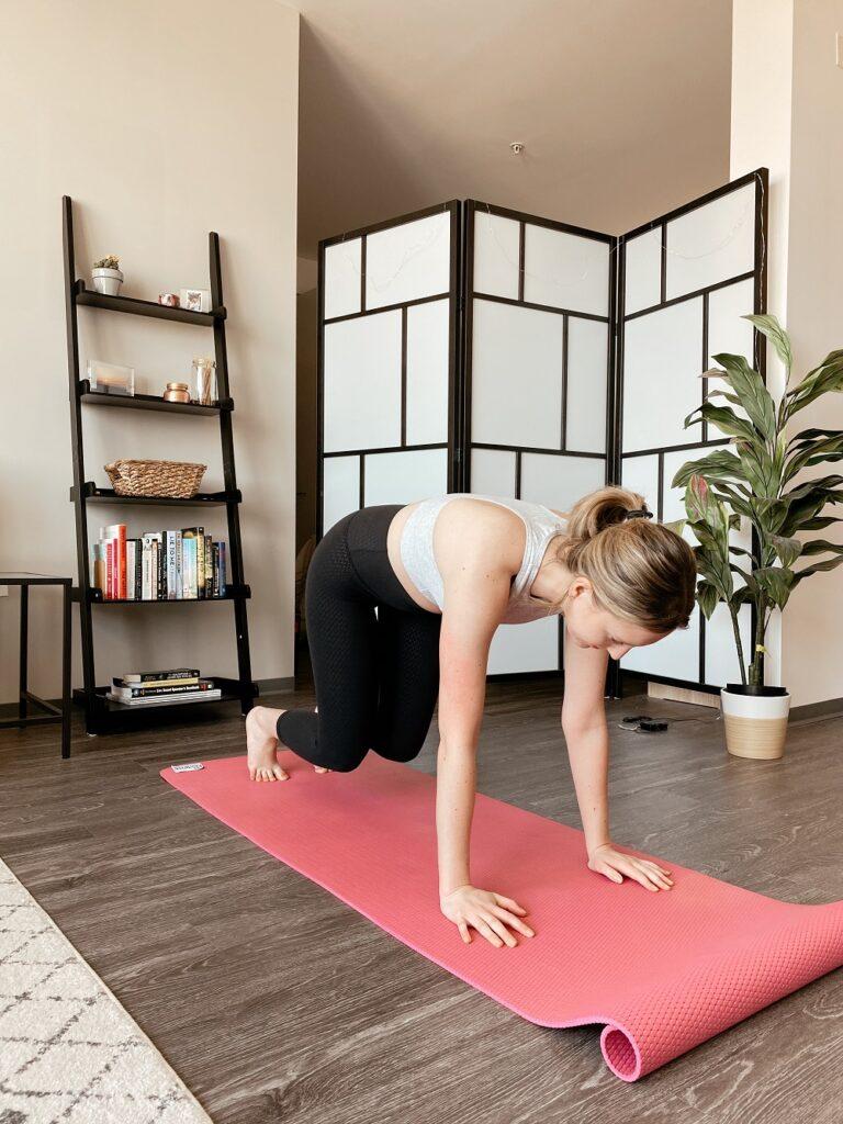 Woman doing a 30 day yoga challenge