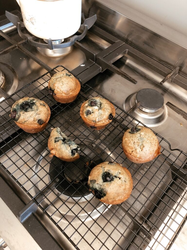 Fresh baked banana bread muffins on the stove