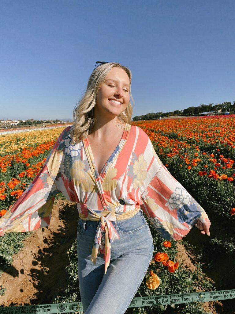 Blonde Girl Posing in a California Flower Field