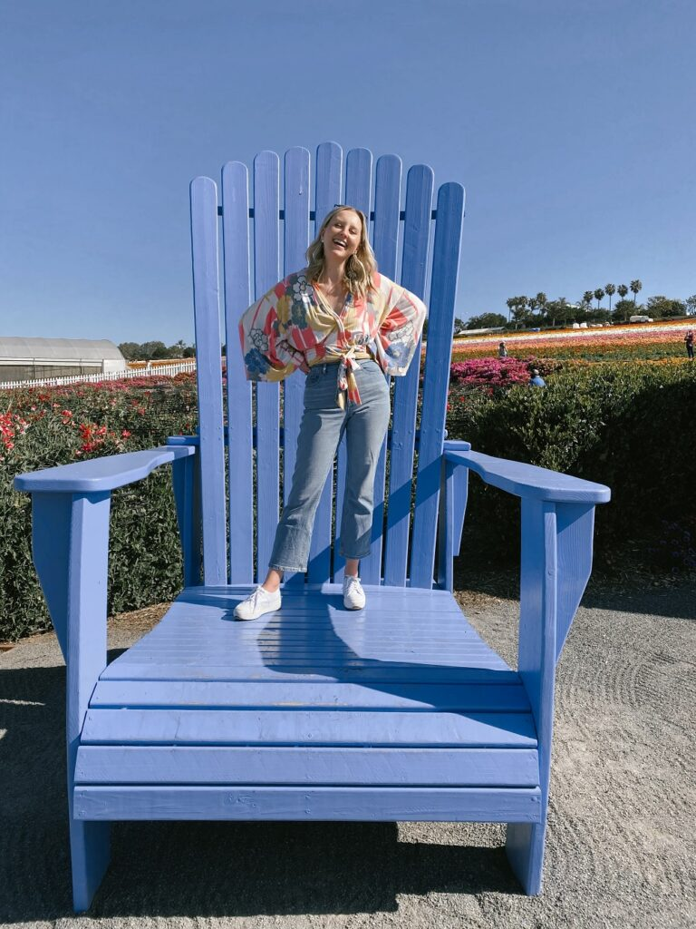 Big Blue Chair at the Carlsbad Flower Fields