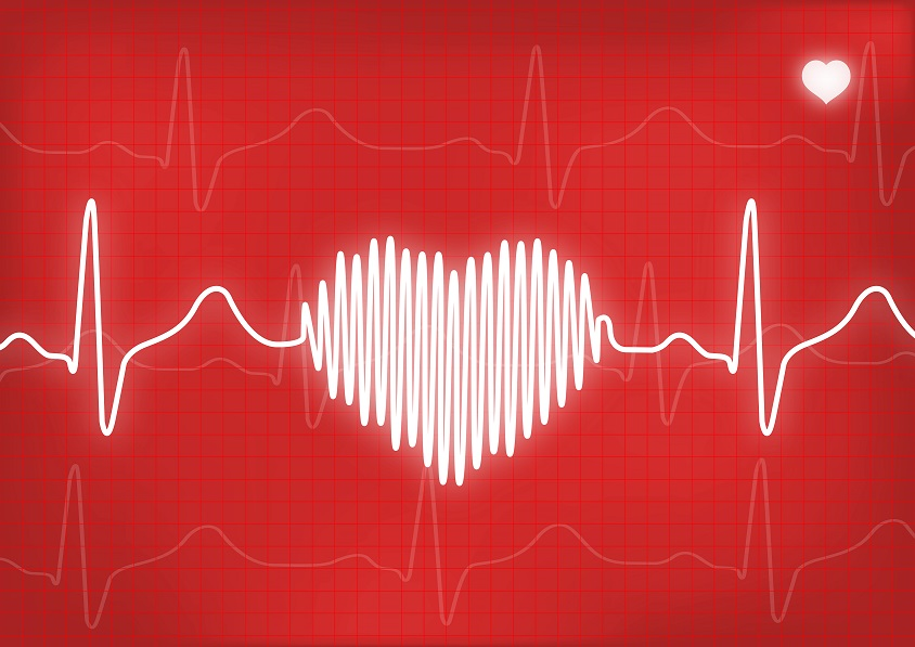 Electrocardiogram forming a heart on a computer screen