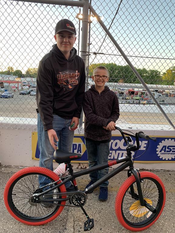 Adkins Glass Bike giveaway recipient - Junior!