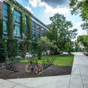 bike racks outside the school