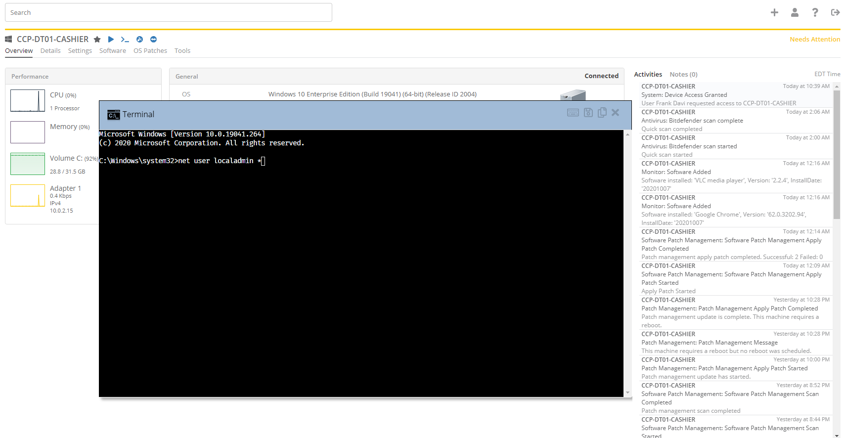 Back-end Command Prompt Module MSP Managed Services