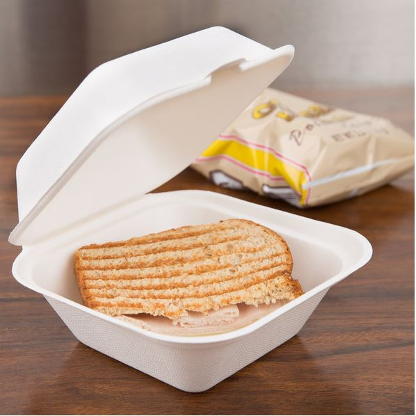 MEP-FC-661  (6″x6″x3″ Sugarcane 1 Compartment Hinged Lid Take Out Container, White, 200 ct.)