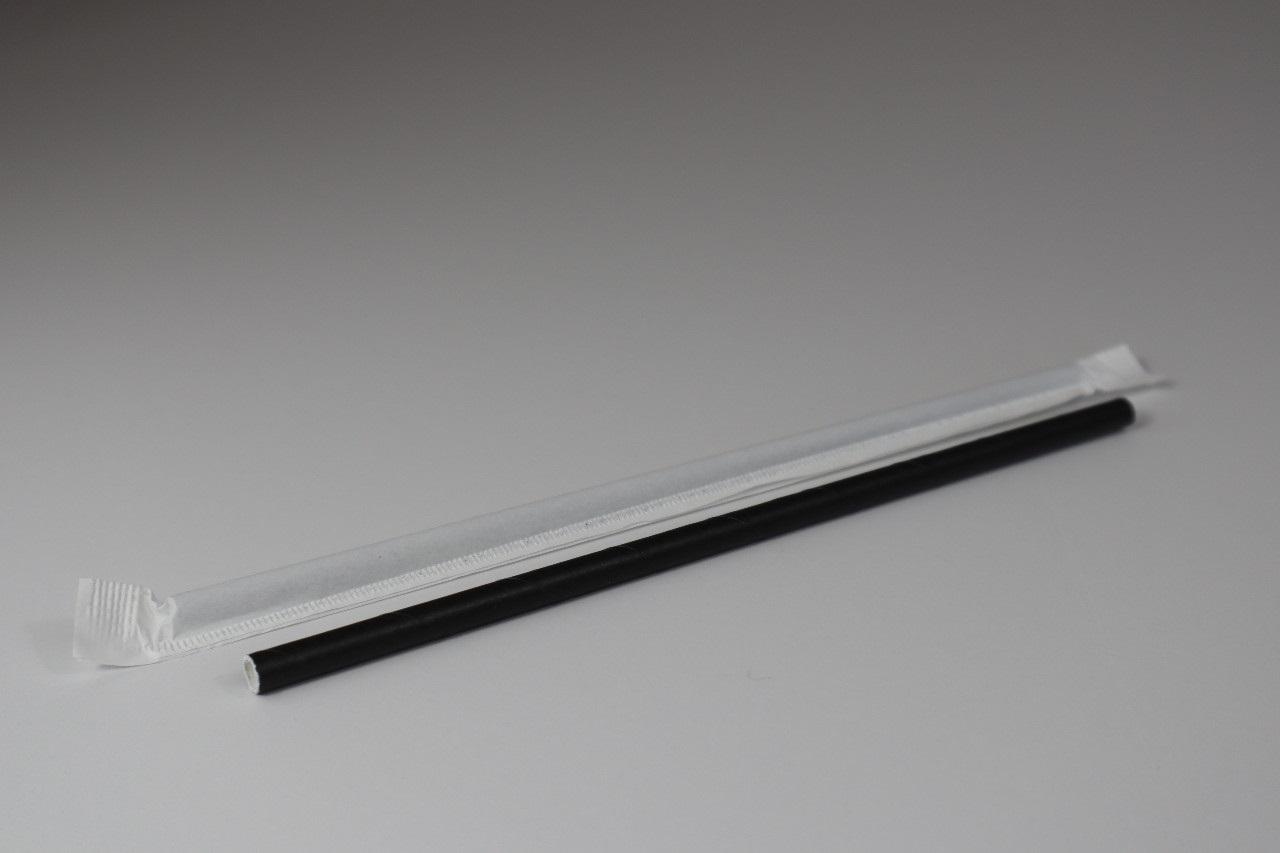 MEP-700WPJBLK (7.75″ Black Wrapped Jumbo 3Ply Premium Paper Straw, 5,000/case, 250*20)