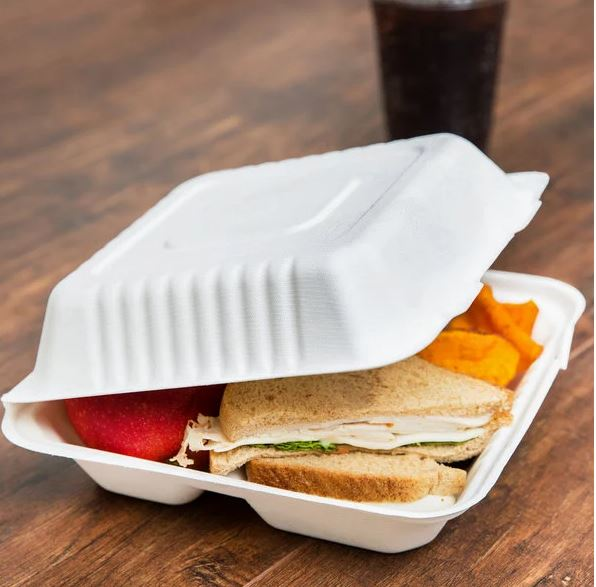 MEP-FC-883  (8″x8″x3″ Sugarcane 3 Compartment Hinged Lid Takeout Container, White, 200 Ct.)
