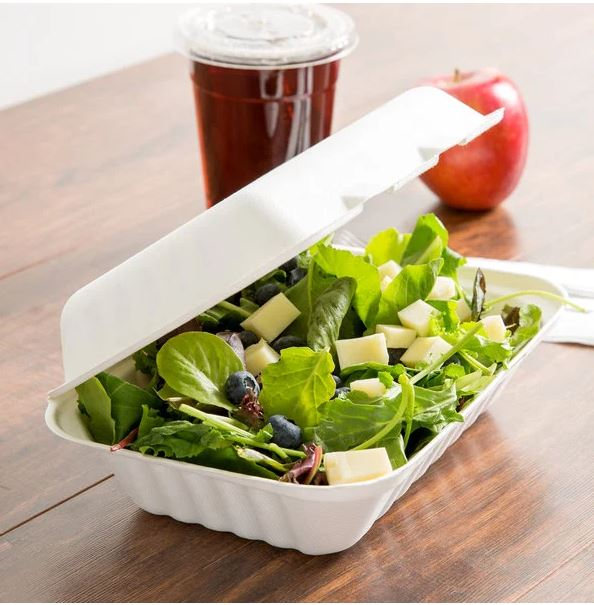 MEP-FC-961 (9″x6″x3″ Sugarcane 1 Compartment Hinged Lid Takeout Container, White, 200 ct.)