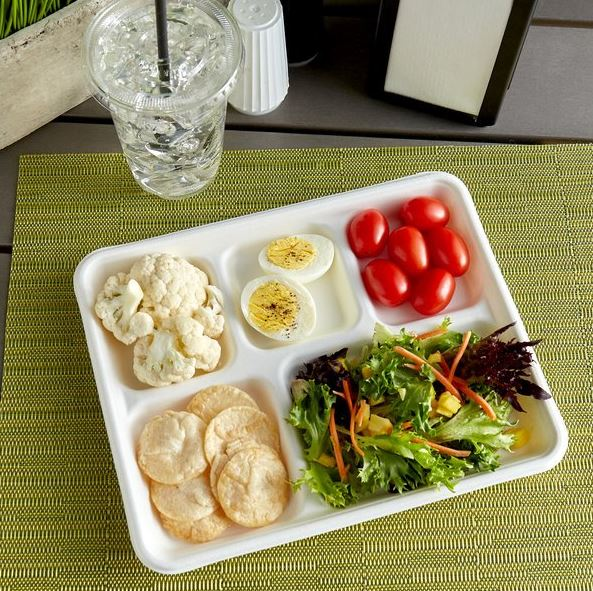 MEP-LT-5  (10″ x 8″ Sugarcane 5 Compartment Lunch Tray – 500 ct.)