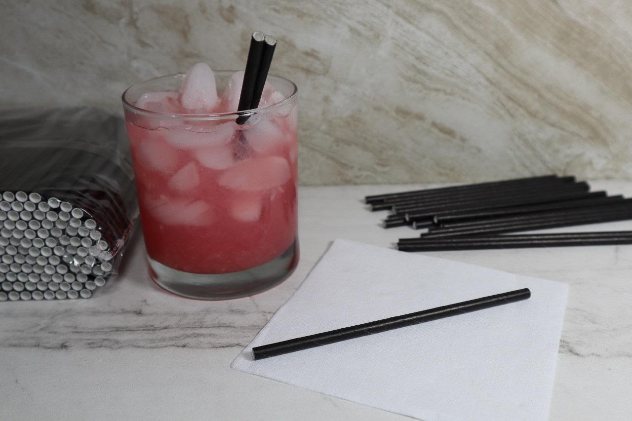 MEP-300UPSBLK (5.25″ Black Unwrapped Sip 3Ply Premium Paper Straw, 5,000/case, 500*10)