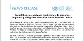 Michelle Bachelet cuestiona condiciones de migrantes