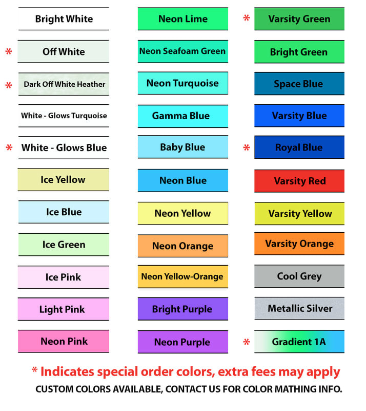 custom glow in the dark ink colors for shirts and clothing