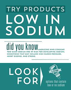 Attributes Store signage - Low in Sodium.