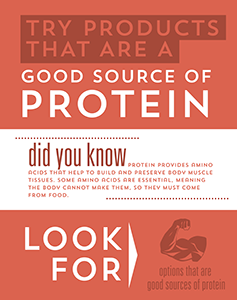 Attributes Store signage - Good source of Protein.