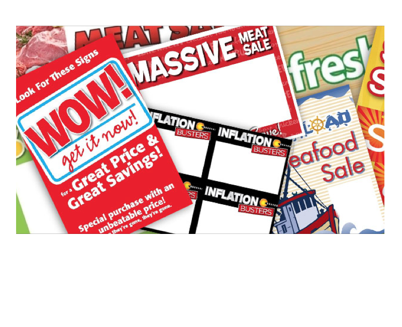 Pile of various sizes and designs of in-store signs.