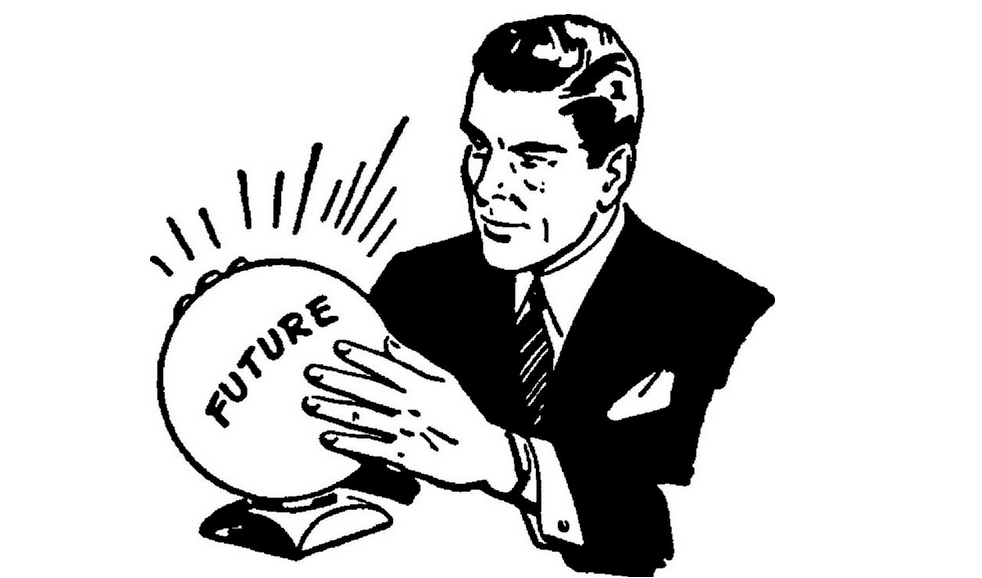"""Cartoon man with crystal ball that says """"future"""""""
