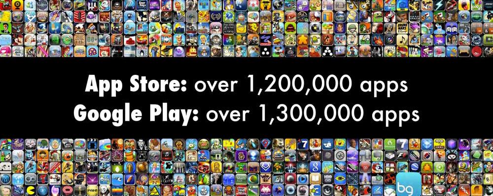 App store: over 1.2 million apps, Google Play: over 1.3 million apps