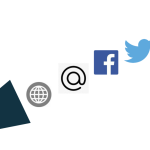 Graphic of megaphone and social media icons.