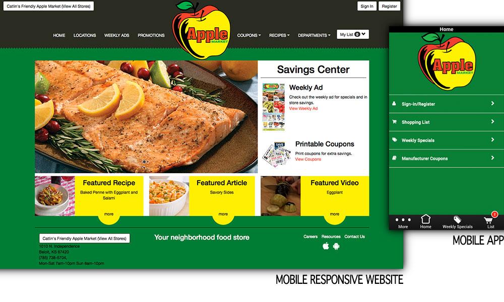 Apple Market website shown on desktop and mobile