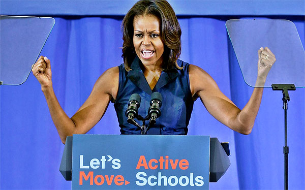 Michelle Obama at podium supporting nutrition in schools