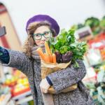 Millennial Shopper Taking Grocery Selfie