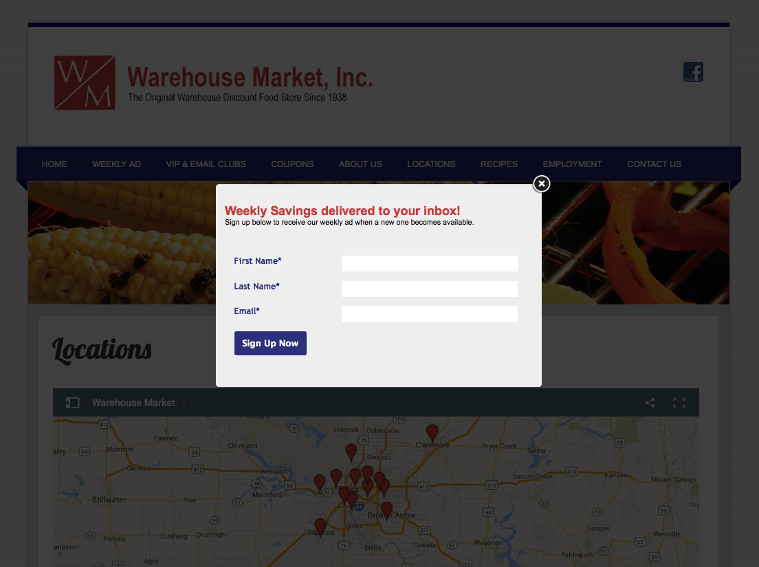 Example of pop up box to get customers to sign up for eClub.