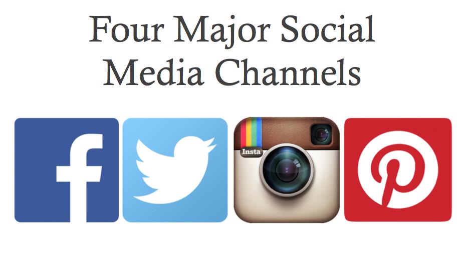 Four Major Social Media Channels and Logos Facebook Twitter Instagram Pinterest