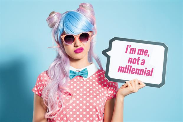 Woman With Pink and Blue Hair Holding I'm me not a millennial sign