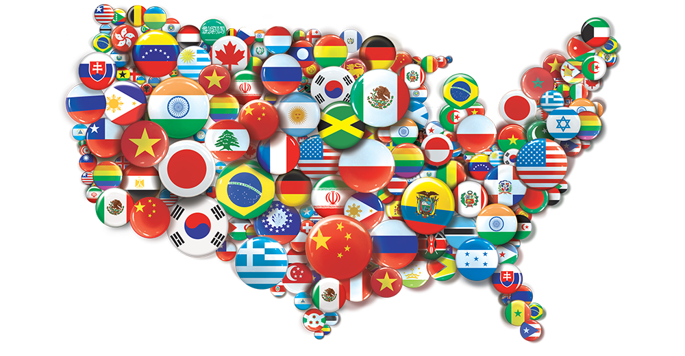 US covered with national flags