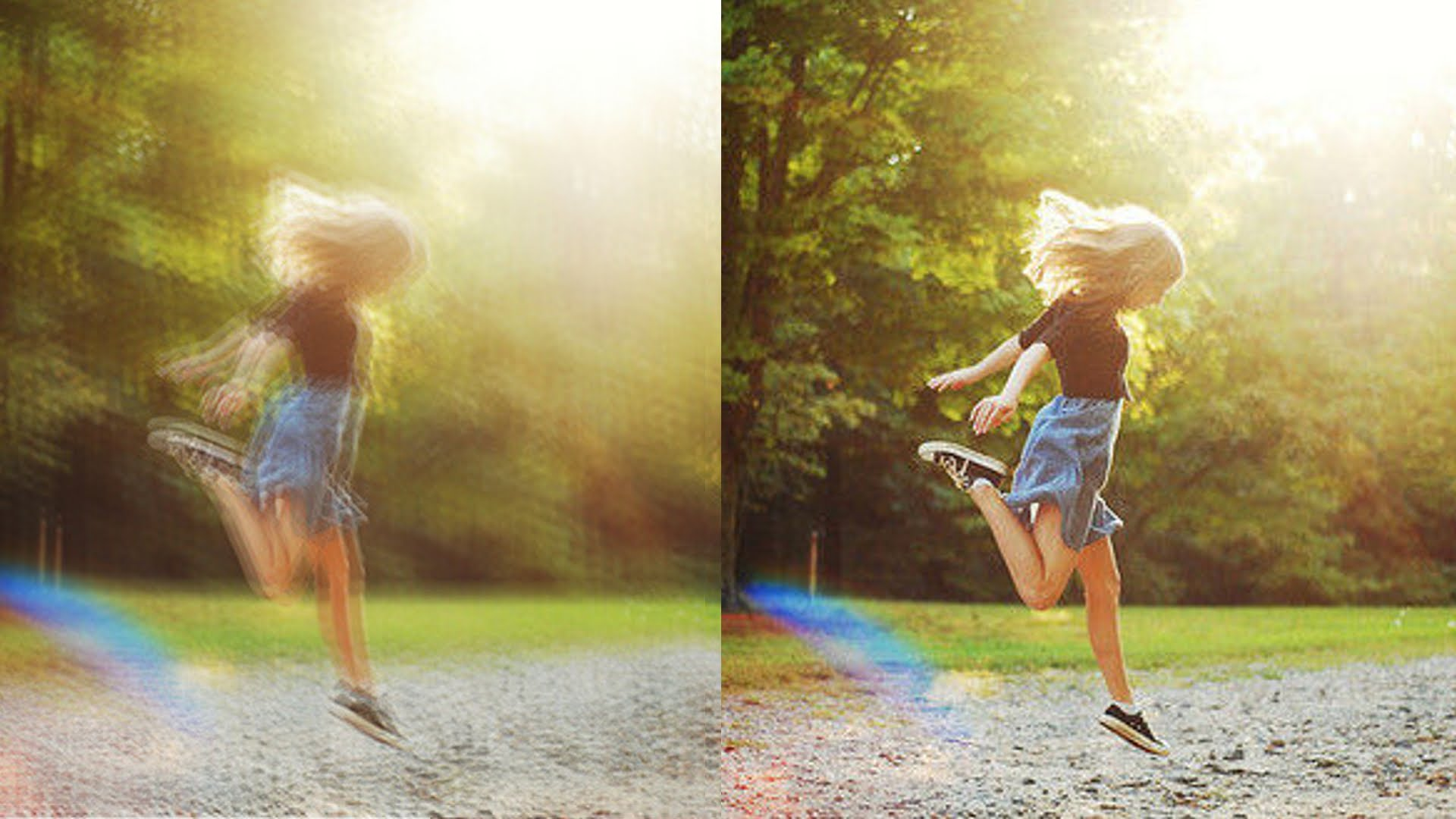 Two photo examples of girl skipping rope. One photo is blurry, the other is not.
