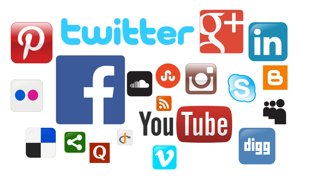 Collage of social media icons.