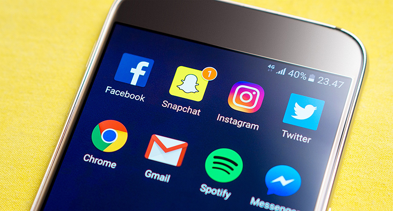 Smartphone with Social Icons