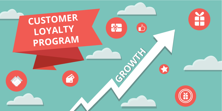 Customer loyalty program w growth arrow